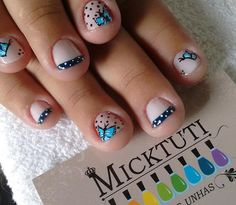 Butterfly Nail Art, Cute Butterfly, Butterfly Pattern, Butterfly Design, Spring Nail Art, Spring Nails, Pink Polish, Nail Polish, French Tip Design