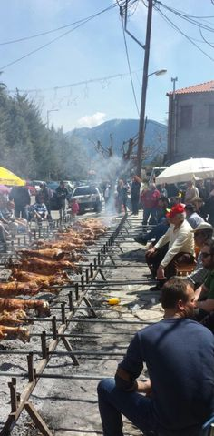 The Orthodox Greek Easter has many unique customs and traditions. In Arachova, neighbours roast lambs next to each other in the street, before feat begins!