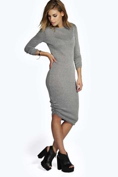 Vestido media manga gris