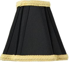 """Black Shantung Fabric Lampshade 2.5""""x5""""x4.5"""" gold liner. Premium Black Shantung Fabric. Traditional Style Stretch Lampshade, Finial not Included. Deluxe lampshade, found in better lighting showrooms. Durable Hotel quality shade. 2.5"""" Top x 5"""" Bottom x 4.5"""" Slant Height."""