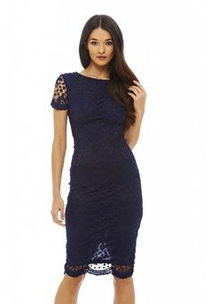 Navy Crochet Lace Midi Dress