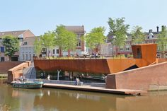 Recently completed rooftop park sits atop fortified walls of historical town | Netherlands >> Click on the image to see the full project << #corten #steel #roof #garden #park #urban #design #landarch