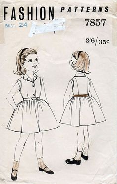 1960s Girl's Shirtwaist Dress Pattern Fashion by BessieAndMaive