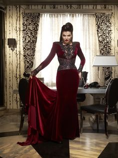 Lana Parrilla's velvet burgundy dress in Once Upon a Time. This show have the most beautiful dresses and gown ever!