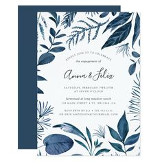 Wild Azure Engagement Party Invitation Custom #babyshower invitations - Make your special day with these personalized #baby #shower #invitations change the colors font and images and make them your own.