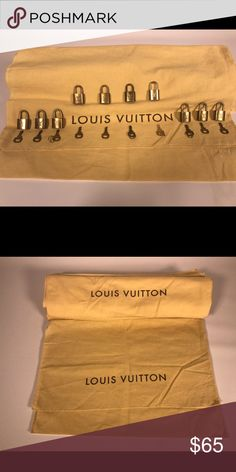 Louis Vuitton Dust Jacket/ Lock & Key Bundle * Comes with 1 Lock w/ key & 1 dust jacket * Approx 17.5 down x 13.5 across   The dust jackets look nearly new with little to no imperfections. I'm sure if you looked close enough some may have a small mark or 2, but just by looking at them they look nearly new. 100% Cotton, Made in Italy, all authentic. The locks look good and function properly. The tarnishing/ oxidation is normal with age as they are brass. They can be buffed to their original…
