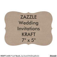 "KRAFT 100lb 7"" x 5"" Bracket Wedding Invitations"
