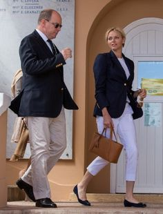 Prince Albert II and Princess Charlene of Monaco attend the ATP Masters Series at Tennis Monte-Carlo Sporting Club on 20 April 2013