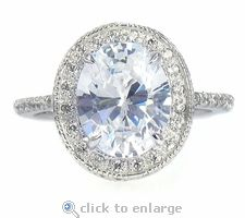 Octet Halo 2.5 Carat Oval Cubic Zirconia Pave Solitaire Milgrained Engagement Ring