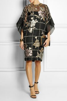 Biyan | Lucy embroidered organza dress | NET-A-PORTER.COM