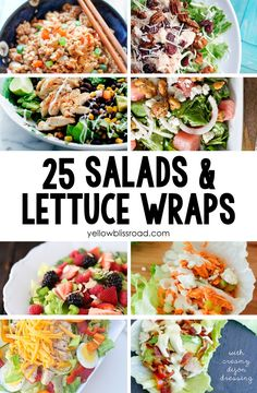 "Summer brings warmer weather, or what I like to call ""Salad Weather!"" I love creating salads and lettuce wraps and enjoying them on a hot day. Here is a quick round up of 25 Delicious Salads & Lettuce Wraps. The first one is a super yummy lettuce wrap recipe that I'm sharing over at I … #ILoveSalads"