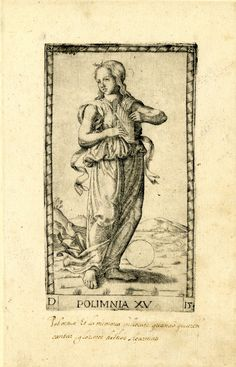 WL female figure, standing, slightly turned to r, the head in TQ profile to l; holding a panpipe-like instrument; after the so-called Tarocchi Cards of Mantegna.  Engraving