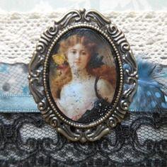 Bracelet manchette style shabby chic, esprit  féminin,romantique et vintage