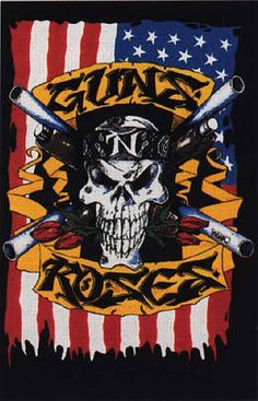 Skull flag Guns N Roses, Rock And Roll Bands, Rock Bands, Rock N Roll, Rock Posters, Concert Posters, Axl Rose, Crow Movie, Badass Pictures