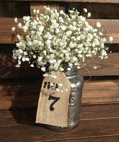 Burlap Table Number Tags set of 10 by RebeccasSilvaLining on Etsy, $10.00