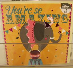 print & pattern | you're so amazing Birthday card #elephant