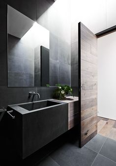 Bathroom:Black Stone Floor Wooden Door Stone Bathroom Sink Wall Faucet Bathroom Mirror Stone Wall Three Crucial Aspects in Upgrading Small Bathrooms