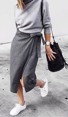 awesome Street Style : wrap midi skirt. fall street style....