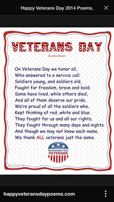 See famous Veterans Day 2018 Poems for Scholl students. Ltest Veterans Day poems collection for Elementry and high school childrens. Sing these poems on scholl function on veterans day. Veterans Day Speeches, Veterans Day Images, Veterans Day Quotes, Veterans Day Gifts, Veterans Day For Kids, Veterans Day Meaning, Veterans Day 2018, Veterans Programs, Veterans Day Celebration