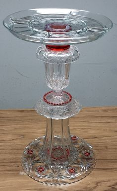 "Re-purposed glass - B27 - Red Beads Bird Bath Dimensions: 21""h x 13""w - $34.95"