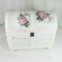 When I'm creating I often get caught up on a theme. . . as was the case last week when I spent several days making an assortment of pretty white things. . . all with a vintage look and adorned with pale pink roses. This 'largish' paper mache treasure chest has been hanging around the …