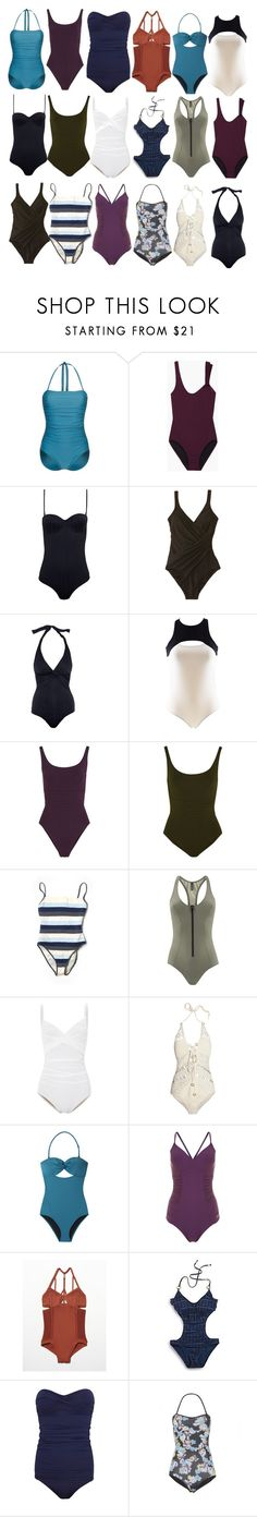 """""""Allison Argent inspired one piece swim suits"""" by xzozebo ❤ liked on Polyvore featuring Beach Panties, Zero + Maria Cornejo, Prism, Miraclesuit, Melissa Odabash, I.D. SARRIERI, Eres, Moschino, Lisa Marie Fernandez and Karla Colletto"""
