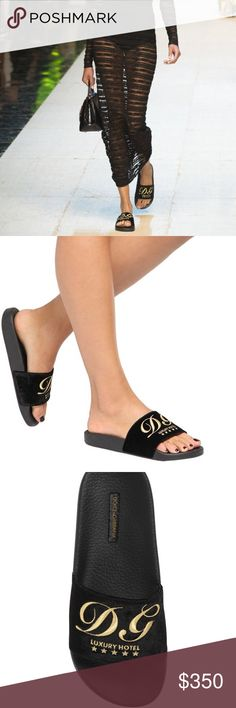 * Dolce & Gabbana * Velvet Slides NWT & Box Most fashionable Dolce & Gabbana Runway Pool Slides. In a gorgeous Black Velvet with gold embroidery. It 37 / US 7 . NWT Box etc. Of Course Made in Italy Dolce & Gabbana Shoes Slippers