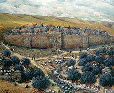 Jerusalem painting israel landscape amnon hoftman אמנון הופטמן ציור של ירושלים נופי ישראל