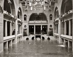 """Circa 1889. """"Bathing pool in the Casino."""" The swimming pool at Henry Flagler's Hotel Alcazar in St. Augustine, Florida, last seen here from the other end. Glass negative by William Henry Jackson. Detroit Publishing Co"""