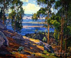 William Wendt Eucalyptus Trees And Bay oil painting reproductions for sale