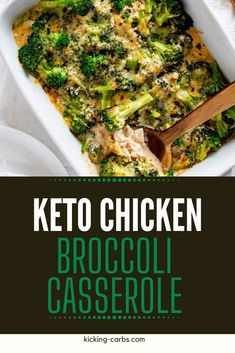 I really want to try new low carb casserole recipes and this Keto Chicken Broccoli Casserole looks so good! I can't wait to cook this easy meal for my family.  It looks like the perfect keto weeknight dinner recipe.  SO PINNING! #kickingcarbs #lowcarb #keto #lchf #ketorecipes #casserole Gluten Free Recipes For Breakfast, Healthy Gluten Free Recipes, Gluten Free Dinner, Healthy Chicken Recipes, Real Food Recipes, Keto Recipes, Dinner Recipes, Delicious Recipes, Slow Cooker Shredded Chicken