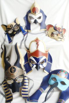 A private commission for a LARP group based in the UK. Three head-pieces based on Egyptian gods - Ra, Sutekh and Anubis. These are very large leather head-pieces which are worn on the top of the he. Egyptian Mask, Egyptian Anubis, Egyptian Party, Egyptian Costume, Happy Halloween, Halloween Diy, Halloween Makup, Anubis Mask, Egypt Crafts