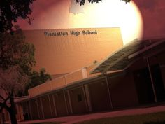today I made a lighting effect on the Plantation high school building .Its nothing much just used filter and lighting effect and adjust the lighting and colors the way I liked.