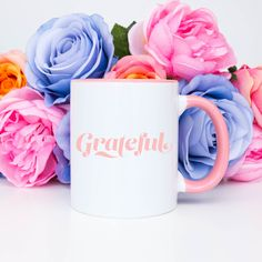 Grateful - Coffee Mug Breast Cancer Survivor, Breast Cancer Awareness, Crown Illustration, Floral Crown, Quote Prints, White Ceramics, Grateful, To My Daughter, Coffee Mugs