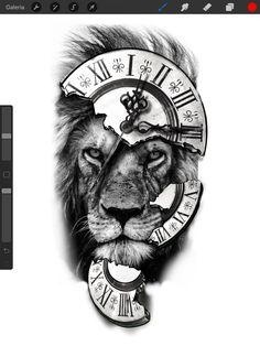 Tiger Eyes Tattoo, Lion Head Tattoos, Clock Tattoo Design, Lion Tattoo Design, Lion Tattoo Sleeves, Best Sleeve Tattoos, Tattoo Sketches, Tattoo Drawings, Tribal Art Tattoos