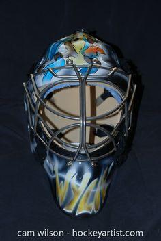 Wylie Coyote Goalie Mask - Airbrushing by Cam Wilson www.hockeyartist.com