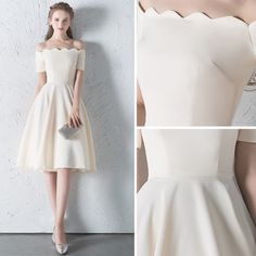 Modest / Simple Champagne Homecoming Graduation Dresses 2018 A-Line / Princess Off-The-Shoulder Backless Sleeveless Knee-Length Formal Dresses Source . Source by marianatestaa Dresses Grad Dresses Short, Modest Dresses, Club Dresses, Homecoming Dresses, Sexy Dresses, Graduation Dresses, Fashion Dresses, Bridesmaid Dresses, Formal Dresses