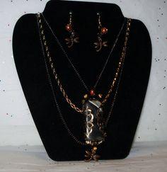 Black Quartz Agate Gemstone & Pearl Brass by AAAJEWELRYSTORE, $29.99