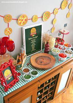 So erhalten Sie zu Hause: Pizza Night – Event Ideas - Pizza Party Birthday, Birthday Party Decorations, Italian Party Decorations, Festa Party, Diy Party, Ideas Party, Italy Party, Chef Party, Pizza Day