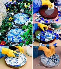 Cake pan stepping stone