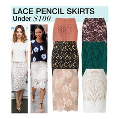 """""""Under $100: Lace Pencil Skirts"""" by polyvore-editorial ❤ liked on Polyvore featuring River Island, Topshop, Dorothy Perkins, Miss Selfridge, H&M, Lipsy, under100 and lacepencilskirts"""