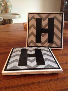 DIY Coasters Chevron Monogram Wedding Gift