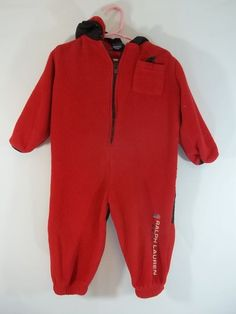 37e2a0dc990d Ralph Lauren Fleece Snowsuit Bunting Red Blue 18 to 24 Months Hooded Logo   RalphLauren