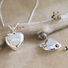 Solid Silver Double Heart for ashes or a lock of hair - beautifully engraved with a name on the front.