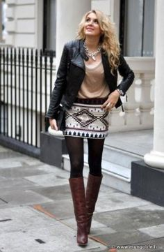 How to Wear a Skirt with Boots in the Fall! by doenapple