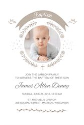 Ribbon Cameo - Free Printable Baptism & Christening Invitation Template | Greetings Island