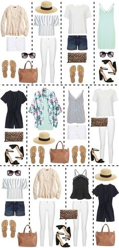 Twelve outfits can be created from just a few basic pieces! This packing guide is really helpful for mixing and matching pieces Twelve outfits can be created from just a few basic pieces! This packing guide is really helpful for mixing and matching pieces Capsule Wardrobe, Travel Wardrobe, Beach Wardrobe, Work Wardrobe, Wardrobe Ideas, Mode Outfits, Casual Outfits, Fashion Outfits, Packing Outfits