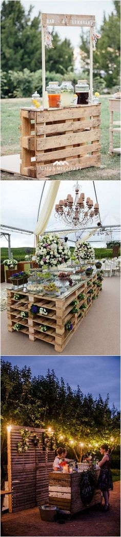 24 Ideas to Use Wood Pallet for Your Country Wedding - Page 2 of 2 - Oh Best Day Ever Wood Themed Wedding, Pallet Wedding, Rustic Wedding, Our Wedding, Dream Wedding, Wedding Ideas, Forest Wedding, Outside Wedding, Wedding In The Woods