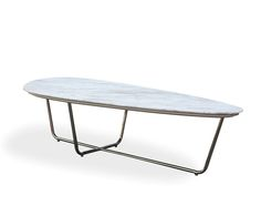 cachet - cocktail table with travertine top & metal legs $429 | b
