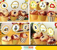 Bee Party - Bumble Bee Birthday Cupcake Toppers by PixieBearParty on Etsy